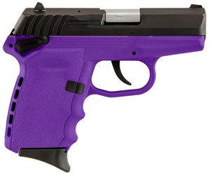 "SCCY CPXICBPU CPX-1 Carbon Pistol, 9mm, 3.1"" BBL, Double Act, Integral Grips, 3-Dot Adj Sights, Purple Finish, 10+1 Rds"