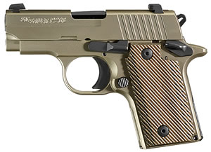 "Sig Sauer 238380NI P238 Pistol, 380 ACP, 2.7"" BBL, Single Act, Rosewood Grips, Night Sights, Nickel Finish, 6+1 Rds"