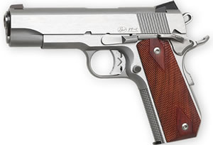 "Dan Wesson 01912 Commander Classic Bobtail CA Compliant Pistol, 45 ACP, 4.3"" BBL, Single Act, Cocobolo Grips, 3-Dot Adj Sights, Stainless Finish, 8+1 Rds"