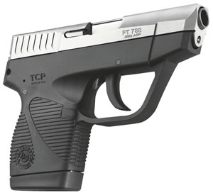 "Taurus 1738039WGS PT 738 TCP Pistol, 380 ACP, 2.8"" BBL, Double Act, Integral Grips, Low Profile Fixed Sights, Stainless/Black Finish, 6+1 Rds, w/Wings"