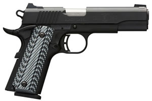 "Browning 1911 380 Black Label Pro Pistol 051900492, 380 ACP, 4.25"" BBL, Single Act, G10 Grips, Combat White Sights, Matte Black Finish, 8+1 Rds"