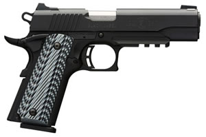 "Browning 1911 380 Black Label Pro Pistol w/Rail 051901492, 380 ACP, 4.25"" BBL, Single Act, G10 Grips, Combat White Sights, Matte Black Finish, 8+1 Rds"