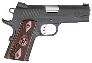 "Springfield PI9125LP 1911 Range Officer Compact Pistol, 9mm, 4"" BBL, Single Act, Cocobolo Grips, Fib Opt Front, Lo-Profile Rear Sights, Black Finish, 8+1 Rds"