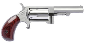 "NAA SW250 Sidewinder Revolver, 22 WMR, 2.5"" BBL, Wood Grips, Fixed Sights, Stainless Finish, 5 Rds"