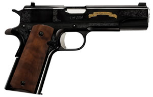 "Remington R1 1911 200th Anniversary Limited Edition Pistol 96372, 45 ACP, 5"" Match Grade BBL, Single Act, C-Grade Walnut Grips, Fixed Sights, Engraved, Blue Finish, 7 Rds"