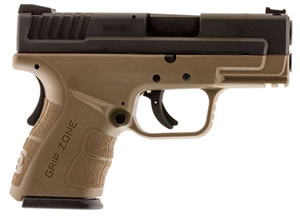 "Springfield XD Mod.2 Sub-Compact Pistol XDG9845FDE, 45 ACP, 3.3"" BBL, Dbl Act, Poly Grips, Fib Opt Front, Lo-Profile Rear Sights, FDE/Black Finish, 10+1 Rds"