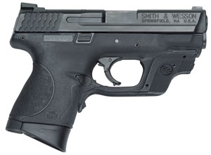"Smith & Wesson M&P 9 Compact w/Crimson Trace Laser Pistol 10176, 9mm, 3.5"" BBL, Striker Fire, Poly Grips, White Dot Front/Low Profile Sights,Crimson Trace Green Laser, Black Finish, 12+1 Rds"