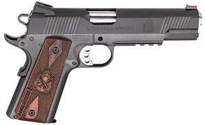 "Springfield 1911 Range Officer Operator Pistol PI9130LP, 9mm, 5"" Match Grade BBL, Sing Act, Cocobolo Grips, Fib Opt Front, Ad Rear Sights, Black Parkerized Finish, 9+1 Rds"