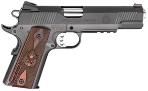 "Springfield 1911 Range Officer Operator Pistol PI9131LP, 45 ACP, 5"" Match Grade BBL, Sing Act, Cocobolo Grips, Fib Opt Front, Lo-Profile Rear Sights, Black Parkerized Finish, 7+1 Rds"