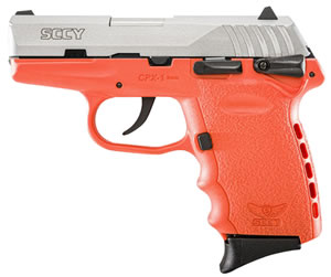 "SCCY CPX-1 Two Tone Orange Pistol CPX1TTOR, 9mm, 3.1"" BBL, Double Act, Orange Poly Grips, 3-Dot Adj Sights, Stainless/Orange Finish, 10 Rds"
