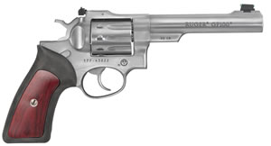 "Ruger GP100 Revolver 1757, 22LR, 5.5"" BBL, Double/Single, Rubber Grips, Fiber Optic Front/Adj Rear, Stainless Finish, 10 Rds"