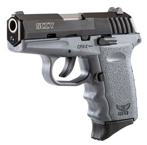 "SCCY CPX2-CBSG Pistol ,9mm, 3.1"" BBL, Dbl Act, Poly Grips, 3-Dot Sights, Black/Sniper Gray Finish, 10+1 Rds"