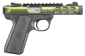 "Ruger Mark III 22/45 Lite Pistol 3912, 22LR, 4.4"" BBL, Single Action, Rubber Grips, Fixed Front/Adj Rear Sights, O.D. Green Finish, 10 Rds"