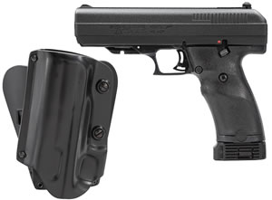 "Hi Point Pistol 34510M5X, 45 ACP, 4.5"" BBL, Double, Black Polymer Grips, 3-Dot Adj Sights, Black Finish, 9+1 Rds, w/Holster"