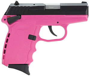SCCY CPX-1 Pistol CPX1CBPK, 9mm, 3.1 inch BBL, Double Act, Integral Grips, 3-Dot Adj Rear Sights, Black/Pink Finish, 10+1 Rds