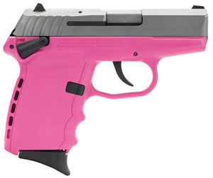 SCCY CPX-1 Pistol CPX1TTPK, 9mm, 3.1 inch BBL, Double Act, Integral Grips, 3-Dot Adj Rear Sights, Two-Tone/Pink Finish, 10+1 Rds