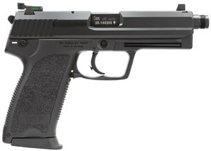 HK USP 45 Tactical V1 Pistol 704501TLEA5, 45 ACP, 5.1 in Threaded BBL, Single/Double, Safe Pos, Syn Grips, Black Finish, Night Sights, Safety/Decocking Lever, 12+1 Rds, 3 Mags
