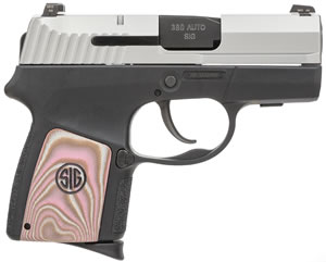Sig Sauer P290RS SubCompact Pistol 290RS380EPNK, 380 Automatic Colt Pistol (ACP), 2.9 inch BBL, Double Act Only, Enhanced G10 Pink Grips, Night Sights, Pink/Black Finish