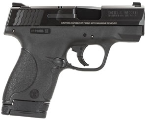 Smith & Wesson M&P Shield Pistol 10035, 9mm, 3.1 inch BBL, Double Act, Intg Palmswell Grips, 3-Dot White Sights, Black Finish, 7+1/8+1 (Grip Extension) Rds, No Safety