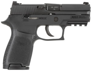 Sig Sauer P250 Compact Pistol 250C380B, 380 ACP, 3.9 inch BBL, Double Act Only, Intg Polymer Grips, Contrast Sights, Black Nitron Finish, 15+1 Rds