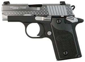"Sig Sauer 238M380DP P238 Diamond Plate Pistol, 380 ACP, 2.7"" BBL, Single Act, Siglite Night, Contrast Sights, 6+1 Rds, MA Approved"