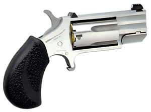 "NAA PUGDP Magnum Pug Revolver, 22 WMR, 1"" BBL, Single Act, Black Polymer Grips, White Dot Sights, Stainless Finish, 5 Rds"