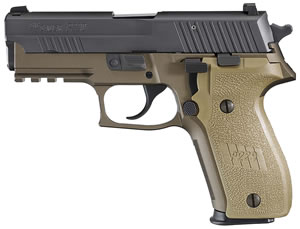 "Sig Sauer E29R9CBT P229 Combat Pistol, 9mm, 3.9"" BBL, Single/Dbl Act, Polymer Grips, Night Sights, Flat Dark Earth Finish, 15+1 Rds"