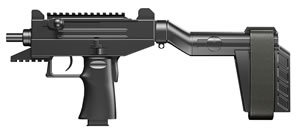 "IWI UPP9SB Uzi Pro Pistol, 9mm, 4.5"" BBL, Semi Auto Act, Black Polymer Grips, Adj Sights, Black Anodized Finish, 20+1 Rds, Stab Brace"