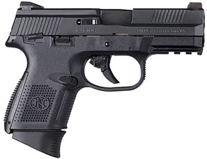 "FN Herstal 66770 FNS 9 Compact Pistol, 9mm, 3.6"" BBL, Double Act, Black Polymer Grips, 3-Dot Sights, Black Finish, 17+1 Rds, w/Safety"