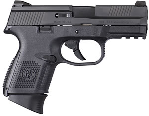 "FN Herstal 66694 FNS 9 Compact Pistol, 9mm, 3.6"" BBL, Double Act, Black Polymer Grips, 3-Dot Sights, Black Finish, 10+1 Rds, w/Safety"