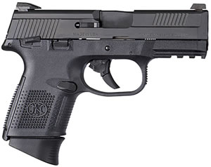 "FN Herstal 66780 FNS 40 Compact Pistol, 40 S&W, 3.6"" BBL, Double Act, Black Polymer Grips, 3-Dot Sights, Black Finish, 14+1 Rds, w/Safety"