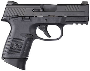 "FN Herstal 66782 FNS 40 Compact Pistol, 40 S&W, 3.6"" BBL, Double Act, Black Polymer Grips, Night Sights, Black Finish, 14+1 Rds, w/Safety"