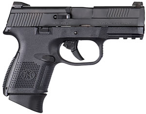 "FN Herstal 66696 FNS 40 Compact Pistol, 40 S&W, 3.6"" BBL, Double Act, Black Polymer Grips, 3-Dot Sights, Black Finish, 10+1 Rds, w/Safety"