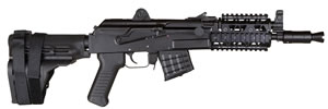 "Arsenal SAM7K-03R SAM7 Pistol, 7.62X39, 10.5"" BBL, Semi Auto, Black Syn Grips, Peep Rear Sights, Black Finish, 5+1 Rds, Quad Rail"