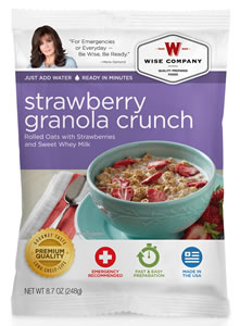 Wise Foods 05216 Outdoor Camping Pouch Strawberry Granola 6 Count