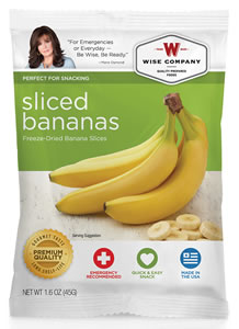 Wise Foods 05401 Outdoor Camping Pouch Sliced Bananas 6 Count