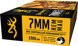 Browning Ammo B192200071 BXC Controlled Expansion 7mm Remington Magnum 155 GR Terminal Tip 20 Bx/ 10 Cs