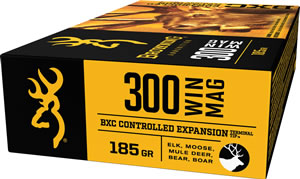 Browning Ammo B192203001 BXC Controlled Expansion 300 Winchester Magnum 185 GR Terminal Tip 20 Bx/ 10 Cs