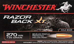Winchester Ammo S270WB Razorback XT 270 Winchester Hollow Point 130 GR 20 Bx/ 10 Cs