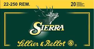 Sellier&Bellot SB22250A GameKing 22-250 Rem 55 GR Spitzer BT 20Box/25Case