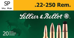 Sellier & Bellot SB22250B Rifle 22-250 Rem 55 GR Soft Point 20 Bx/ 25 Cs