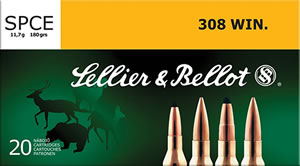 Sellier & Bellot SB308F Rifle Hunting 308 Win/7.62 NATO 180 GR SPCE (Soft Point Cut-Through Edge) 20 Bx/ 25 Cs