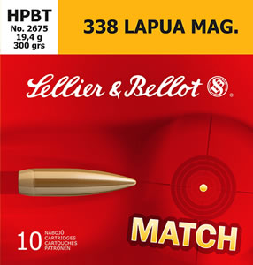 Sellier & Bellot SB338LMB Rifle Match 338 Lapua Magnum 300 GR Boat Tail Hollow Point 10 Bx/ 10 Cs