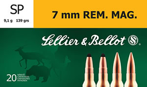 Sellier & Bellot SB7B Rifle 7mm Rem Mag 139 GR Soft Point 20 Bx/ 20 Cs