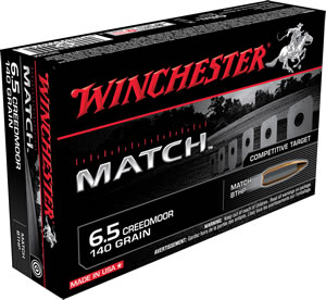 Winchester Ammo S65CM Match 6.5 Creedmoor 140 GR Boat Tail Hollow Point 20 Bx/ 10 Cs
