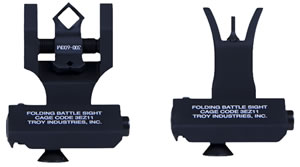 Troy Ind SSIG45SMDBT 45s Front & Dipotic Rear AR-15/M4/M16 Black Metal