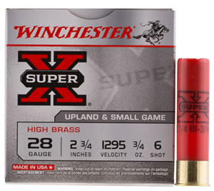 "Winchester Ammo X286 Super-X High Brass Game 28 Gauge 2.75"" 3/4 oz 6 Shot 25 Bx/ 10 Cs"