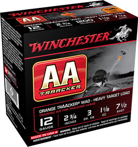 "Winchester Ammo AAM127TO AA TrAAcker 12 Gauge Overcast Training Heavy 12 Gauge 2.75"" 1-1/8 oz 7.5 Shot 25 Bx/ 10 Cs"