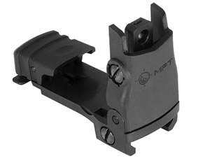 Mission First Tactical BUPSWR Flip Up Rear Sight with Windage Adjustment Universal Polymer  Black