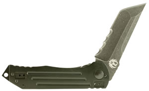 "Columbia River R2102KC 2-Stage Clip 4"" 8C13MoV Tanto Black Anodized Aluminum/Stainless Steel"